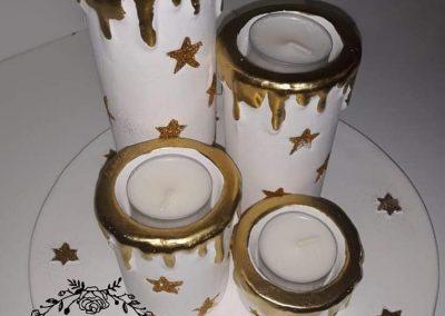 advetný veniec keramický bielo zlatý