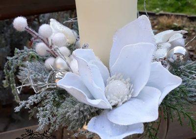 ikebana bielo strieborná