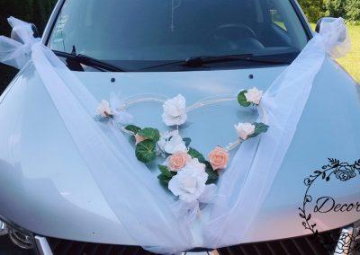 výzdoba svadobneho auta Srdce biele